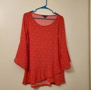 Roz and ali red tunic dress floral print bell slee